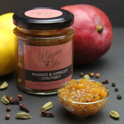 Spiced Rhubarb and Peach Chutney - Hibiscus Lily